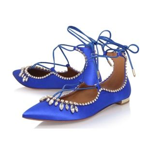 New Aquazzura Christy Jewel Flats Blue Satin SZ 40